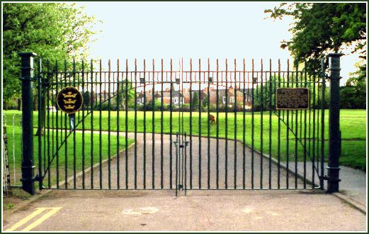 Gates at East Park, Hull, commemorate their use at the site of RAF Sutton on Hull, 1939 to 1969>