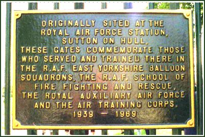 Plaque on Gates at East Park, Hull, commemorate their use at the site of RAF Sutton on Hull, 1939 to 1969>