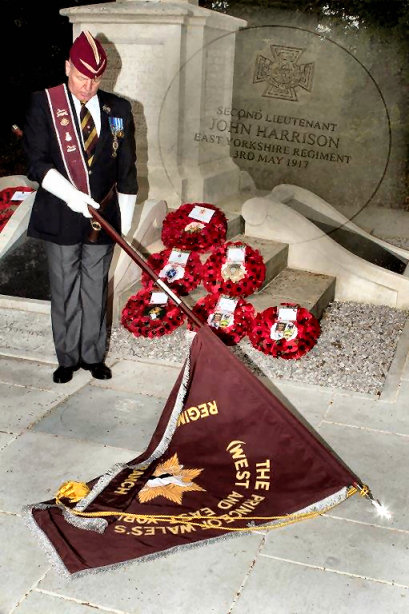 photos of the occasion of the unveiling of the VC paver to honour 2/Lt John Harrison VC MC on 7 May 2017