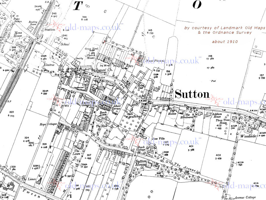 sample map of Sutton - click map to load full map at Old Maps