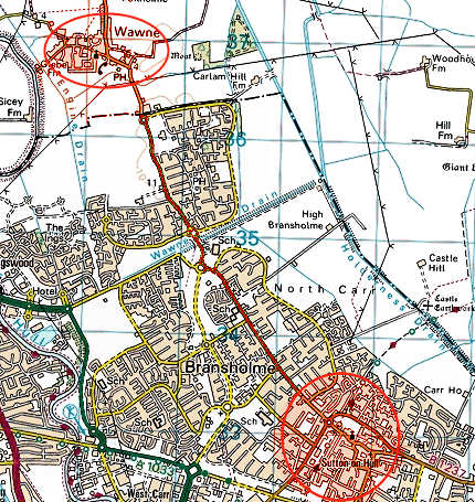 map showing the proximity of our two villages, and the line of the ancient lane that linked them