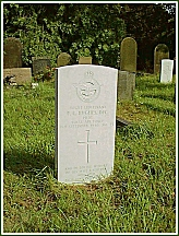 Sutton on Hull churchyard - with the grave of Flight Lieutenant Pat Hughes DFC