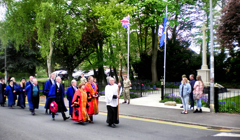 Procession to the church before the unveiling of the VC paver
